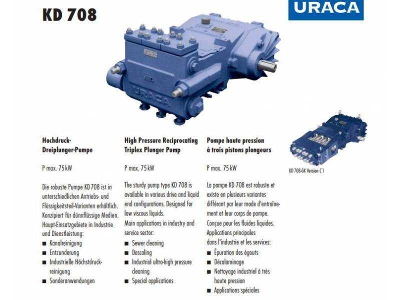 德国进口高压泵 75kW URACA高压泵 KD 708